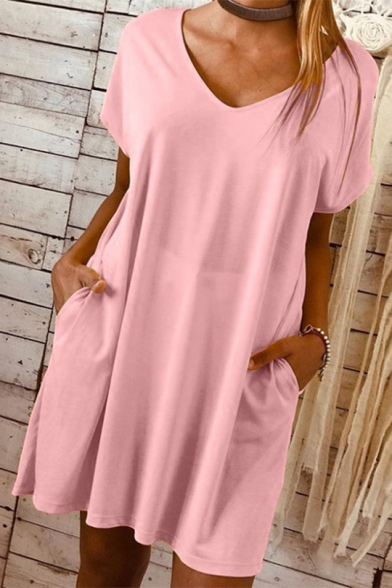 Womens Hot Trendy Solid Color V-Neck Short Sleeve Casual Loose Mini T-Shirt Dress with Pocket