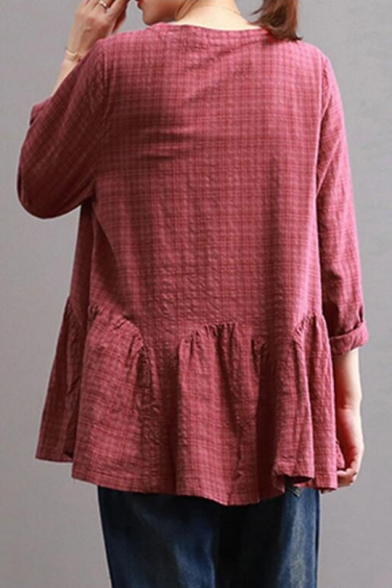 Womens Plus Size Plaid Printed Round Neck Long Sleeve Casual Ruffled Blouse