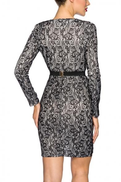 Womens Sexy Black Plunging V-Neck Eyelash Lace-Trimmed Long Sleeve Bodycon Mini Dress