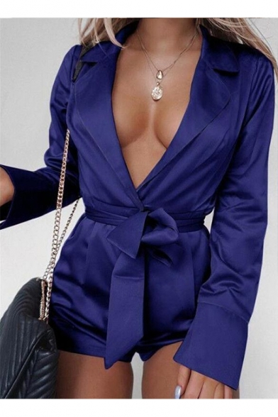 Womens Sexy Hot Fashion Notched Lapel Collar Tie-Waist Solid Color Long Sleeve Romper