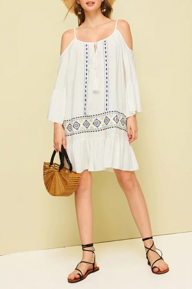 Womens Summer Holiday Boho Style Cold Shoulder Tribal Print White Mini Ruffled Dress