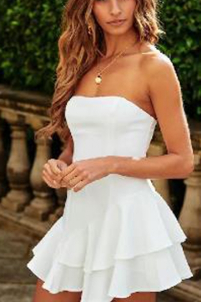 Womens Summer Simple Plain Strapless Mini A-Line Ruffled Bandeau Dress