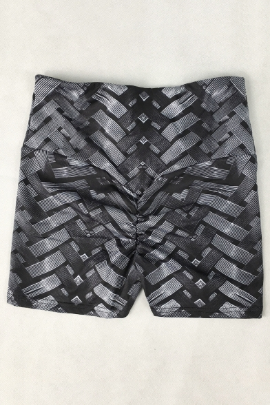 Cool Black 3D Printed High Rise Bum Lift Sport Training Skinny Half Yoga Shorts