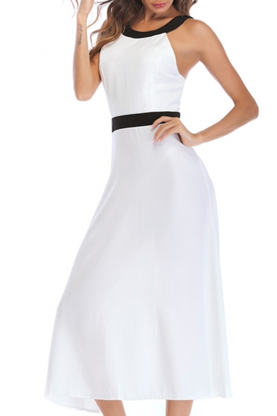 Fashion Hot Sexy Halter Sleeveless Tie Back A-Line Flare Maxi Empire Waist Dress for Evening Party