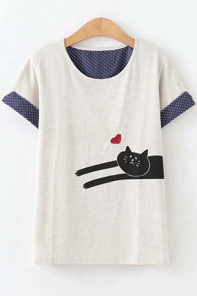 Girls Funny Heart Cat Printed Round Neck Short Sleeve Grey T-Shirt