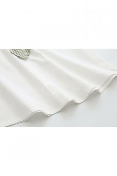 Girls Summer Funny Cartoon Avocado Pocket Tied Collar Short Sleeve White Shirt
