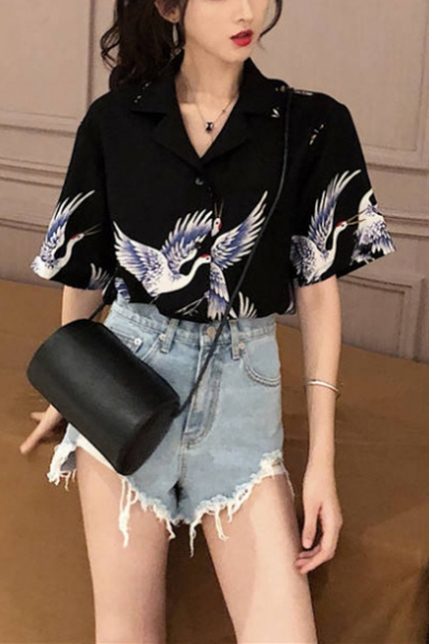 Girls Summer Vintage Crane Printed Notched Lapel Collar Short Sleeve Button Down Shirt