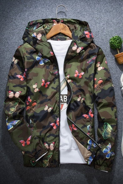 Guys Unique Camo Butterfly Printed Long Sleeve Outdoor Lightweight UV Protection Zip Up Hooded Jacket