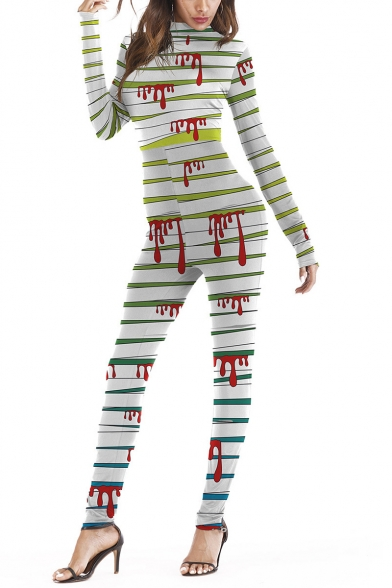 Halloween Stylish Color Block Long Sleeve High Neck Fitted Jumpsuits for Cospaly