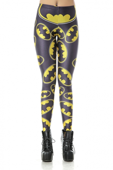 Hit Popular Halloween Yellow Printed Elastic Waist In Skinny Fit Legging Pants