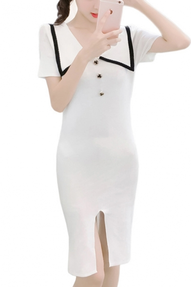 Hot Popular Chic Short Sleeve Button Embellished Contrast Trim Splits Front Midi Straight Dress for Office Lady
