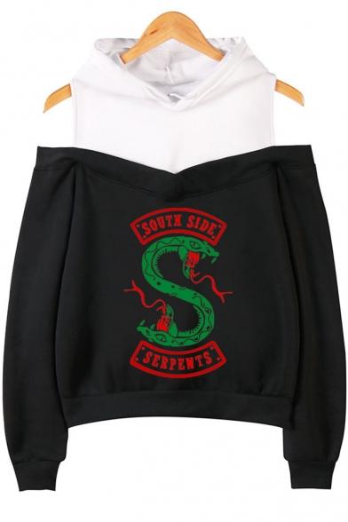 Hot Popular Fashion South Side Snake Logo Print Cold Shoulder Long Sleeve Pullover Hoodie, Black;dark navy;pink;gray, LM543750