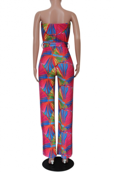 Hot Sexy Womens Strapless Sleeveless Tie Waist Abstract Printed Bandeau Jumpsuits