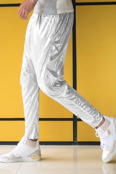 Men's Hot Fashion Solid Color Drop-Crotch Shining Harem Pants