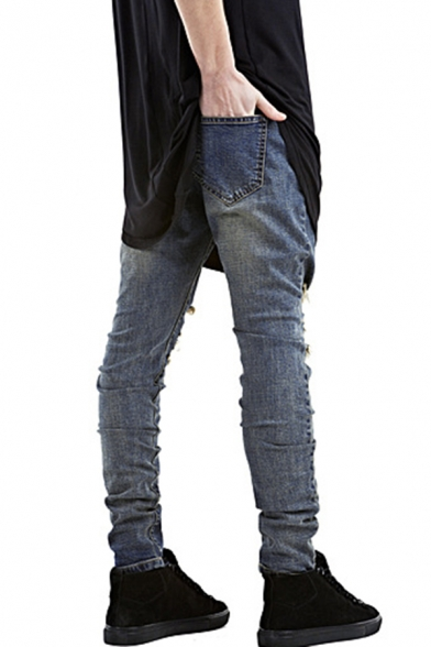 Men's Hot Fashion Vintage Washed Regular Fit Damage Ripped Jeans