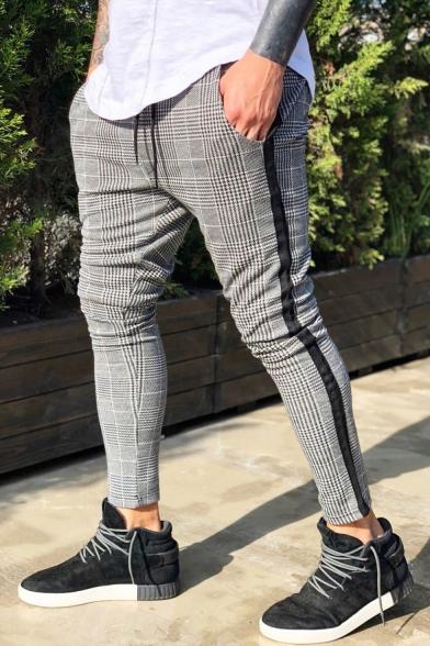 Men's New Stylish Plaid Pattern Tape Side Drawstring Waist Grey Casual Skinny Pencil Pants