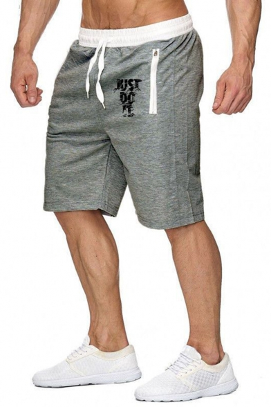 Men's Popular Fashion Letter JUST DO IT Printed Zipped Pocket Drawstring Waist Sports Sweat Shorts