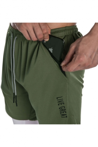 Men's Popular Fashion Letter LIVE GREAT Printed Drawstring Waist Training Shorts