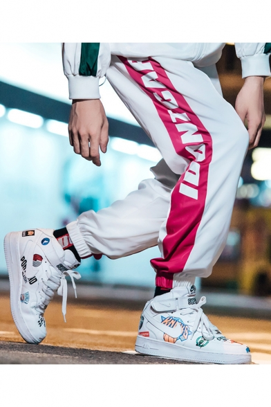 Men's Street Style Colorblock Letter Printed Drawstring Waist Elastic Cuffs Trendy Loose Casual Track Pants