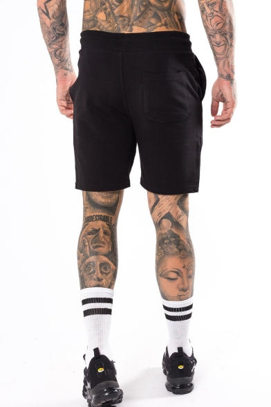 Men's Summer Cool Fashion Letter Skull Stripe Printed Drawstring Waist Sports Sweat Shorts