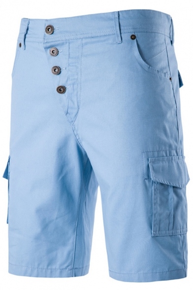 Men's Summer Fashion Solid Color Flap Pocket Side Button-fly Casual Cargo Shorts
