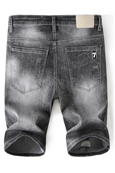 Men's Summer New Fashion Simple Plain Grey Slim Fit Denim Shorts