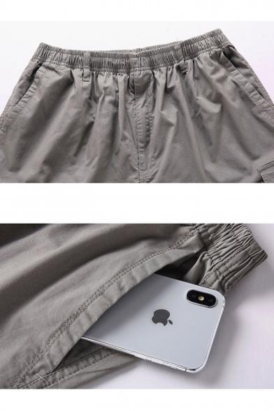 Men's Summer Simple Fashion Solid Color Multi-pocket Casual Cotton Cargo Shorts