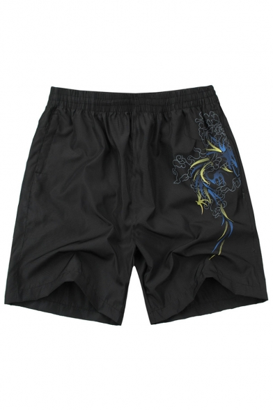 Men's Summer Stylish Printed Elastic Waist Zipped Pocket Black Casual Beach Shorts Relaxed Sports Shorts