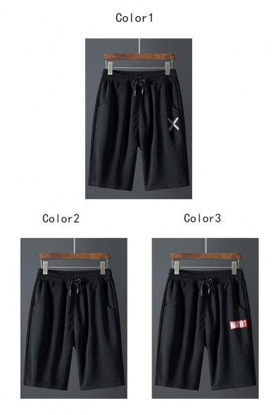 Men's Summer Trendy Letter X Printed Drawstring Waist Casual Relaxed Active Shorts
