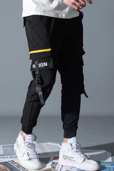 Men's Trendy Letter FASHION Ribbon Embellished Drawstring Waist Slim Fit Cotton Cargo Pants