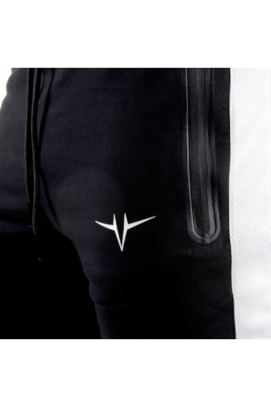 Men's Trendy Logo Embroidery Zipped Pocket Drawstring Waist Casual Slim Pencil Pants