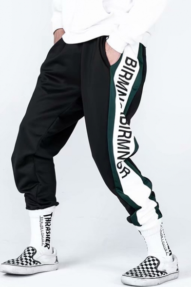 Men's Trendy Street Style Contrast Stripe Side Letter Printed Casual Loose Track Pants