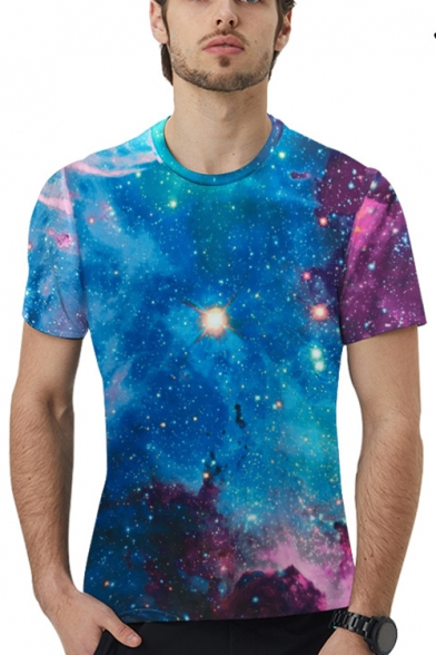 Mens Stylish Magic Galaxy Printed Round Neck Short Sleeve Blue T-Shirt
