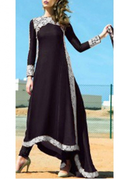 New Arrival Chic Long Sleeve Lace Trim Flare Maxi A-Line Dress