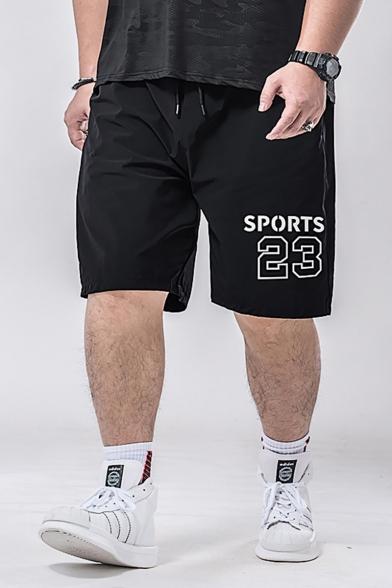 Popular Fashion Letter SPORTS 23 Printed Drawstring Waist Loose Fit Men's Black Athletic Shorts