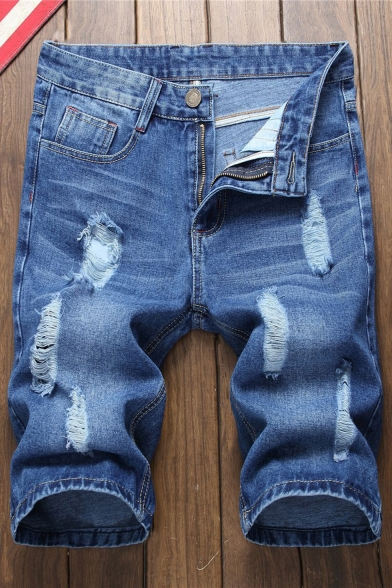 Popular Fashion Ripped Detail Simple Plain Zip-fly Blue Denim Shorts for Men