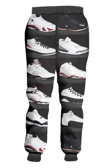 Popular Fashion Shoes Printed Drawstring Waist Grey Polyester Loose Fit Casual Sweatpants