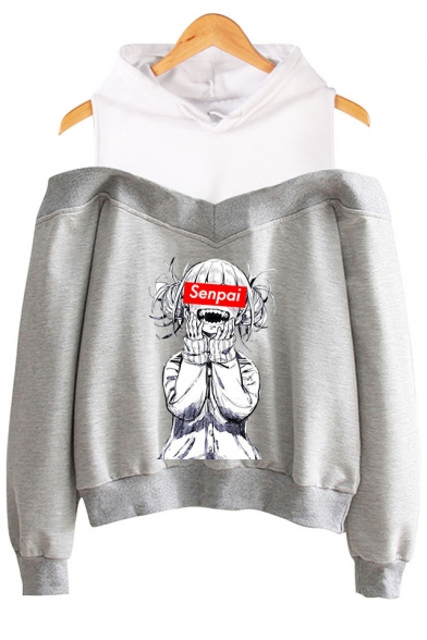 Popular Senpai Comic Anime Girl Print Cold Shoulder Long Sleeve Casual Hoodie