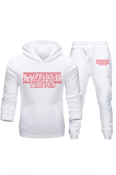Popular Stranger Things Simple Letter Printed Casual Hoodie with Jogger Sweatpants Sport Two-Piece Set, Color 1;color 2;color 3;color 4;color 5;color 6;color 7;color 8;color 9;color 10;color 11;color 12;color 13;color 14, LC550069