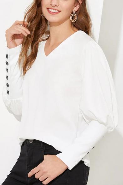 Stylish Button Embellished Simple Plain V-Neck Bishop Long Sleeve White Blouse