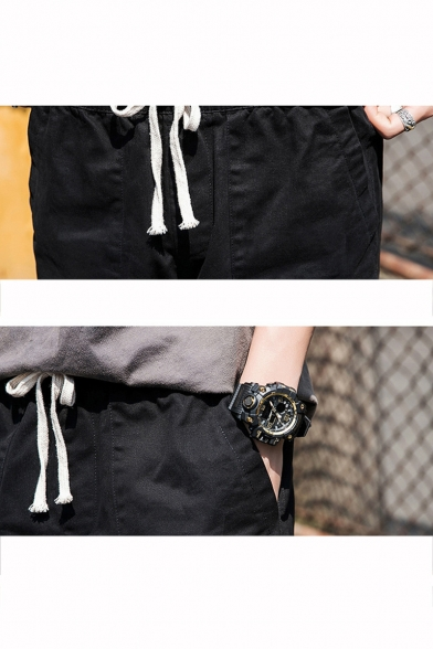 Summer Fashion Letter Patchwork Rolled Hem Drawstring Waist Casual Cargo Shorts