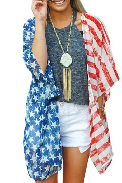 Summer Hot Fashion Star Striped Print Chiffon Short Sleeve Oversize Casual Loose Cardigan Shirt