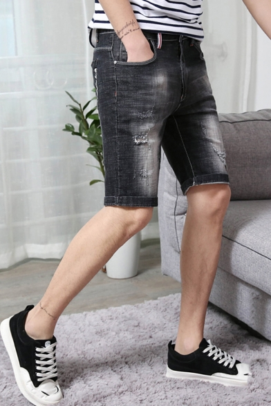 Summer New Fashion Solid Color Slim Fit Grey Ripped Denim Shorts