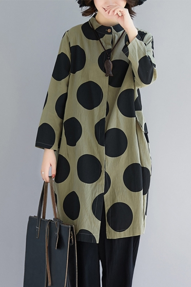 Summer New Stylish Polka Dot Printed Long Sleeve Green Longline Button Down Shirt for Women