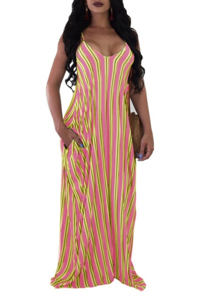 Summer Popular Vertical Striped Printed V-Neck Sleeveless Maxi Beach Slip Dress