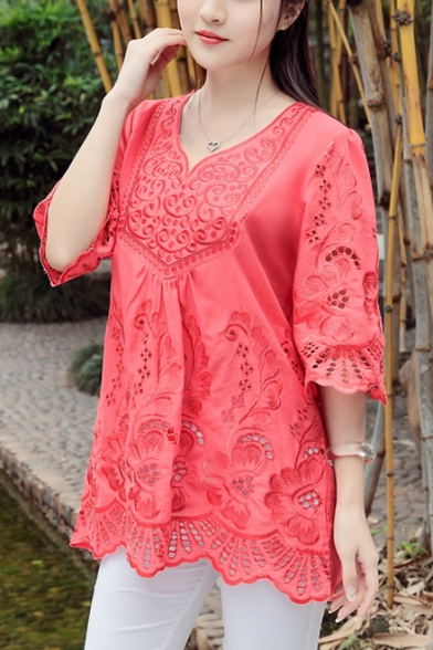Summer Trendy Hollow Out Crochet V-Neck Half Sleeve Linen Loose Blouse