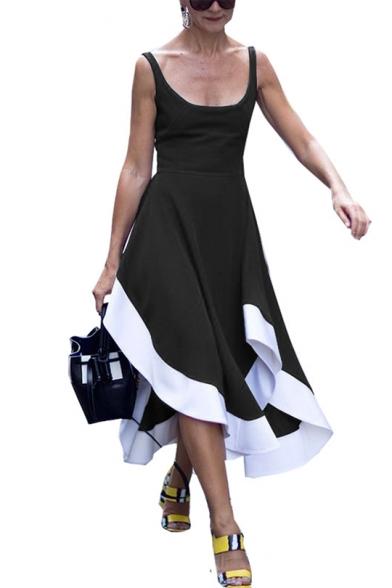 Summer Womens Fashion Scoop Neck Sleeveless Open Back Asymmetrical Tank Dress