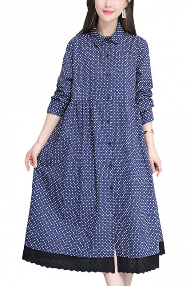 Trendy Polka Dot Printed Long Sleeve Button Down Maxi Swing Linen Shirt Dress for Women