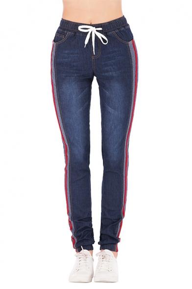 Women's Trendy Stripe Tape Side Drawstring Waist Regular Fit Dark Blue Jeans