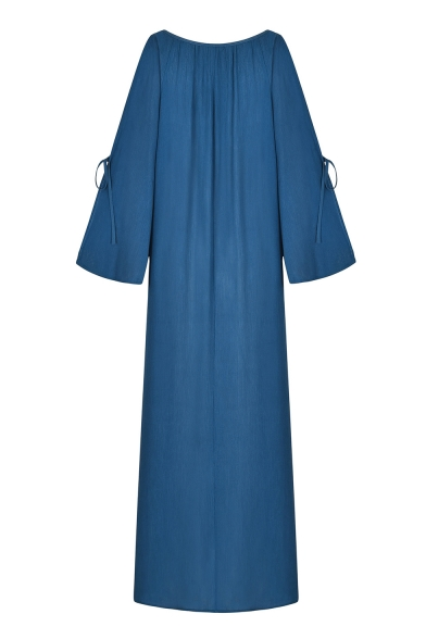 Womens Fashion Sexy Plunging V-Neck Tied Split Long Sleeve Plain Maxi Floor Length Bohemian Dress